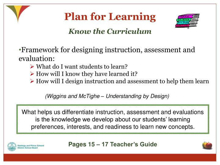 Plan for Learning