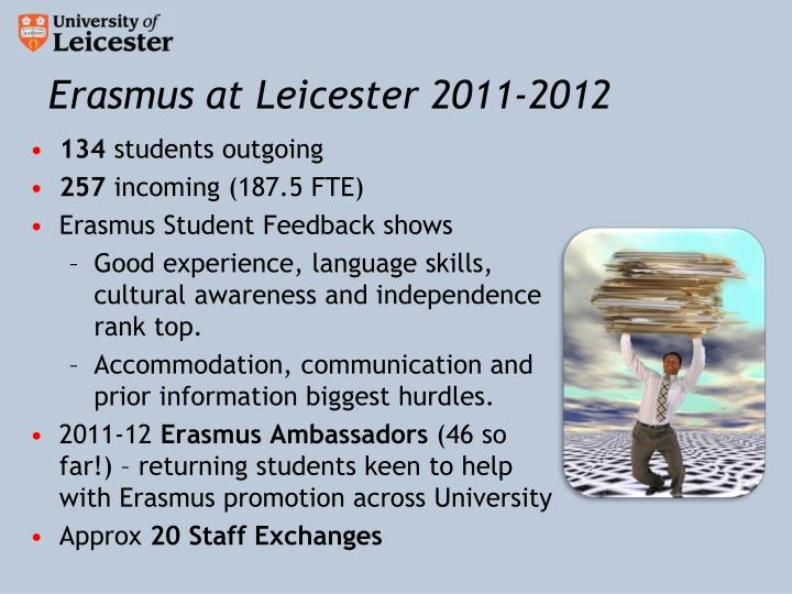 Erasmus at Leicester 2011-2012