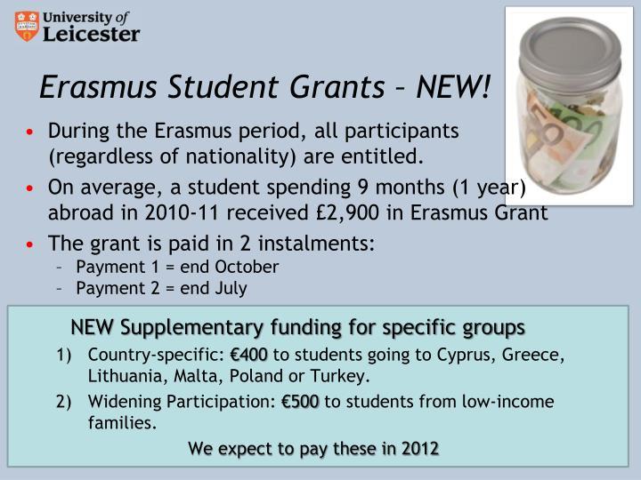 Erasmus Student Grants – NEW!