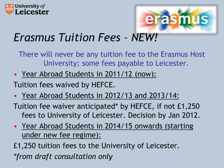 Erasmus Tuition Fees – NEW!
