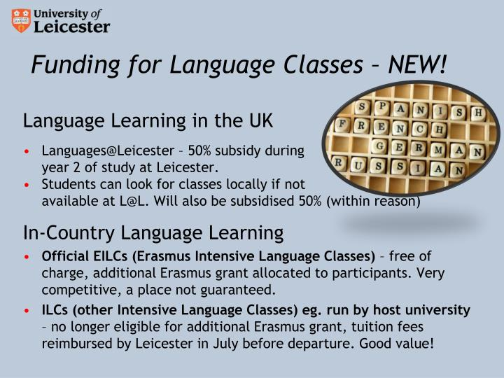 Funding for Language Classes – NEW!