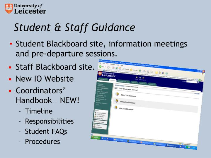 Student & Staff Guidance