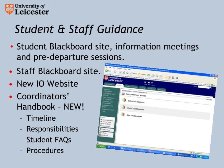 Student & Staff Guidance