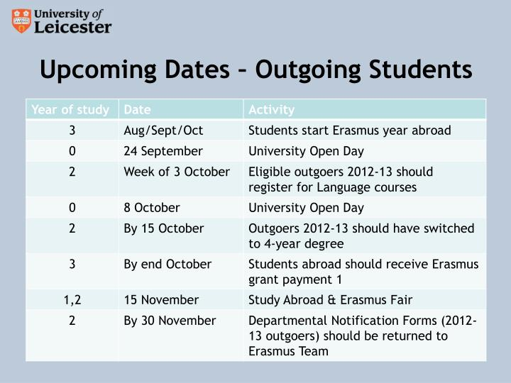 Upcoming Dates – Outgoing Students