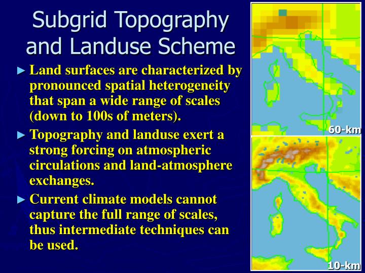 Subgrid topography and landuse scheme