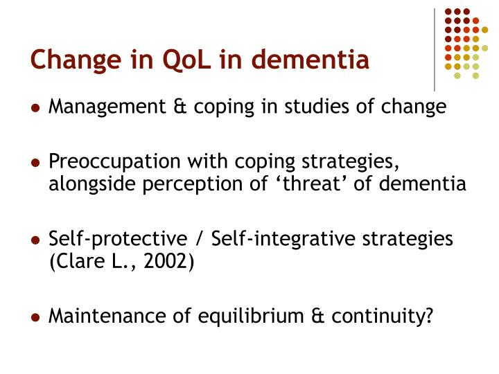 Change in QoL in dementia