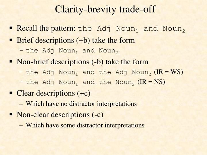 Clarity-brevity trade-off
