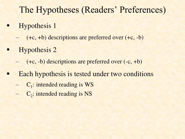 The Hypotheses (Readers' Preferences)
