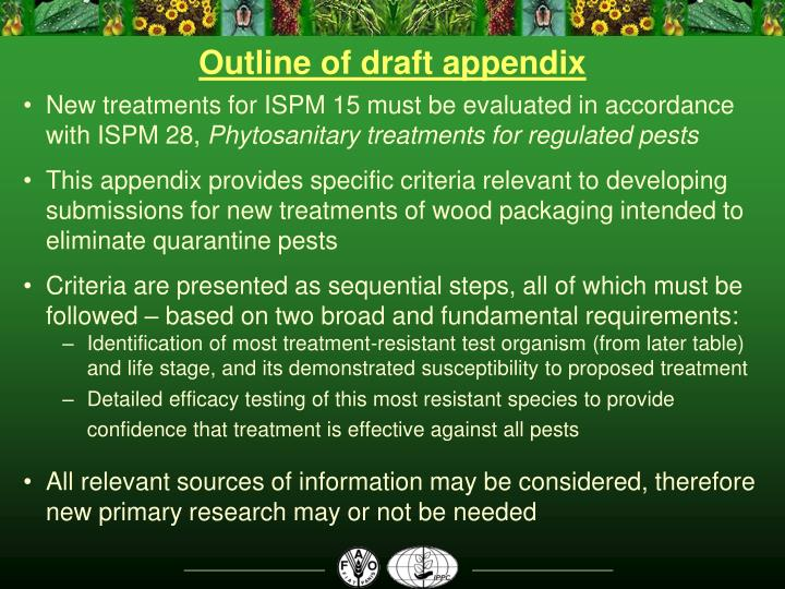 Outline of draft appendix