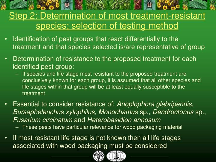 Step 2: Determination of most treatment-resistant species; selection of testing method