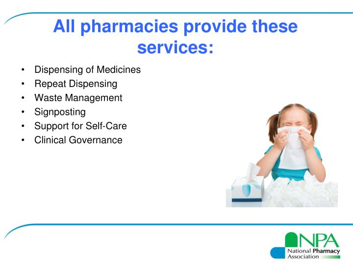 All pharmacies provide these services: