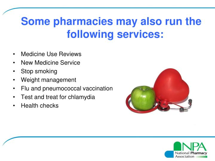 Some pharmacies may also run the following services: