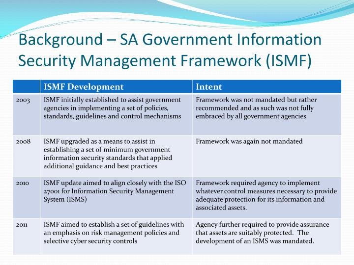 Background – SA Government Information Security Management Framework (ISMF)