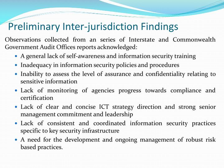 Preliminary Inter-jurisdiction Findings