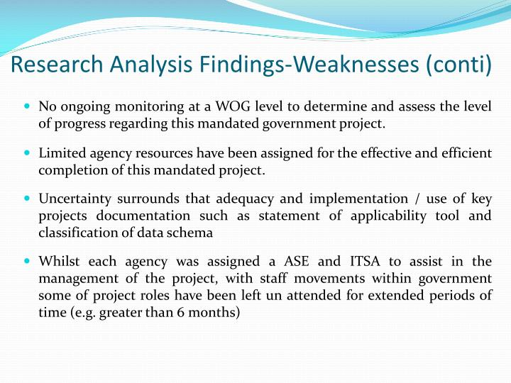 Research Analysis Findings-Weaknesses (conti)