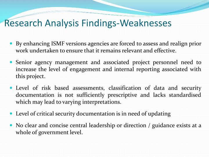 Research Analysis Findings-Weaknesses