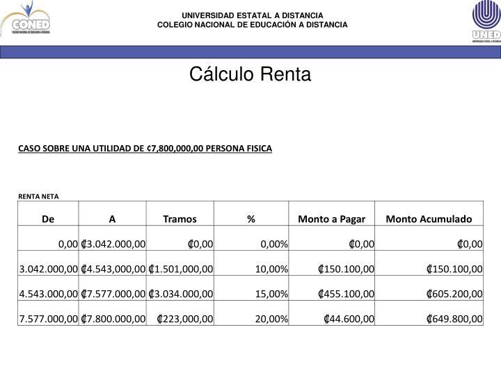 Cálculo Renta