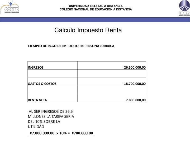 Calculo Impuesto Renta
