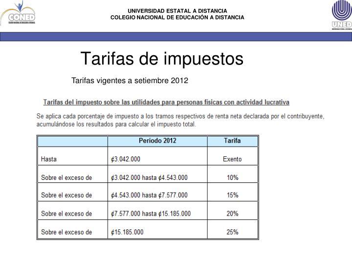 Tarifas vigentes a setiembre 2012