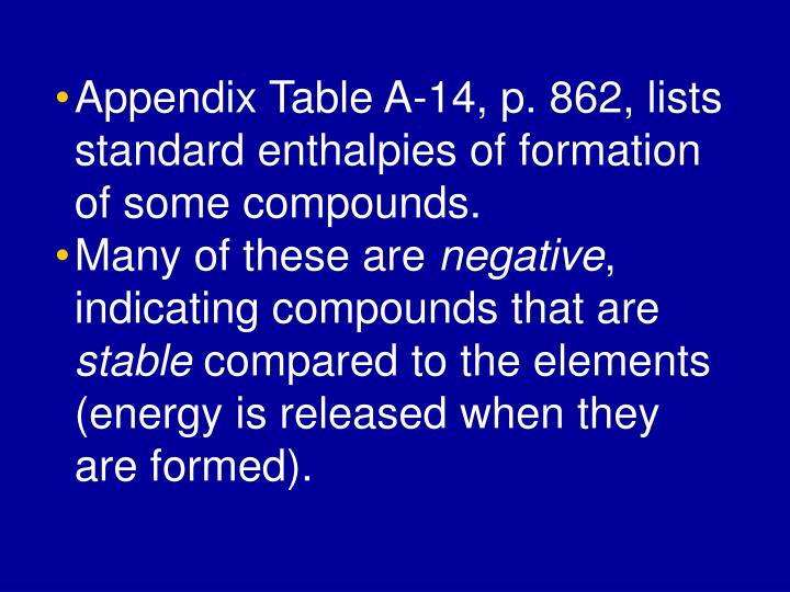 Appendix Table A-14, p. 862, lists standard enthalpies of formation of some compounds.