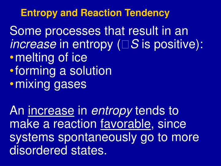 Entropy and Reaction Tendency