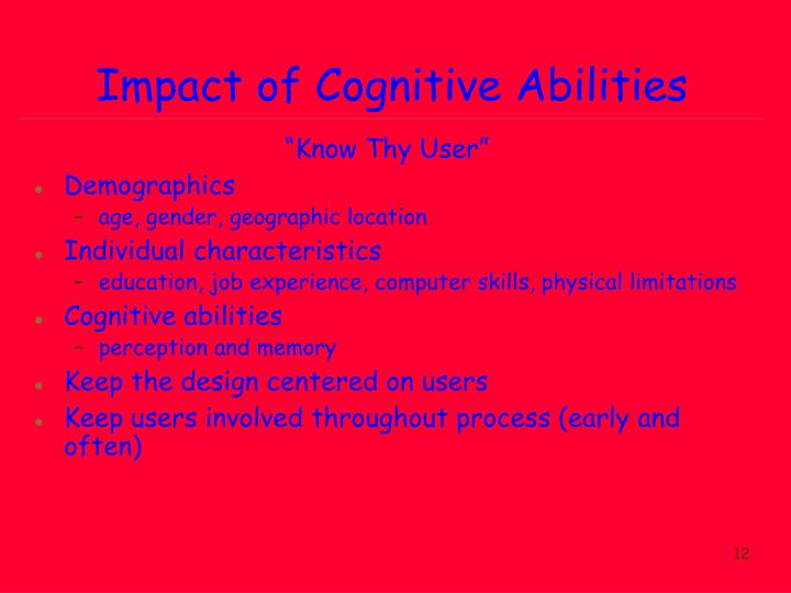 Impact of Cognitive Abilities