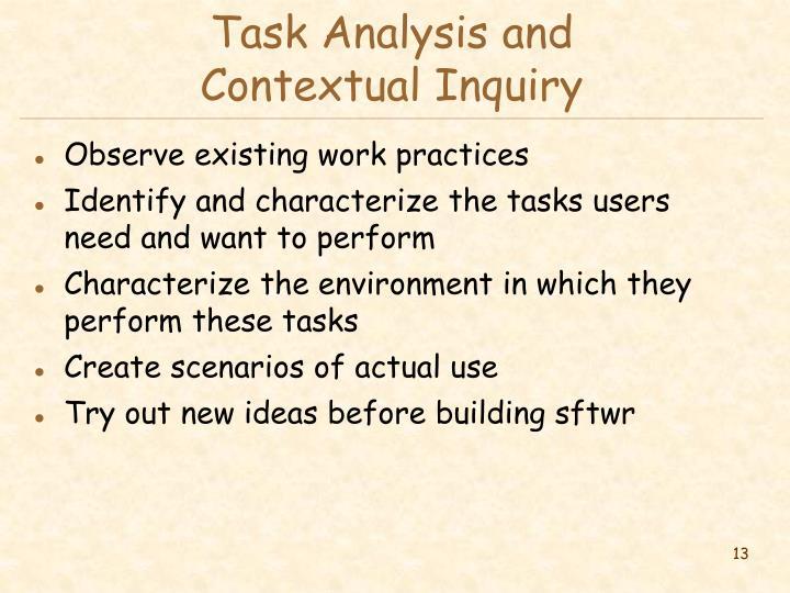 Task Analysis and