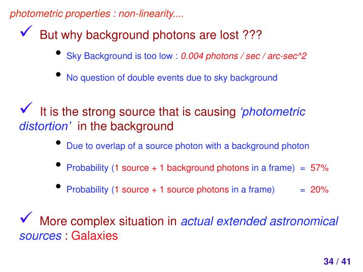photometric properties : non-linearity....