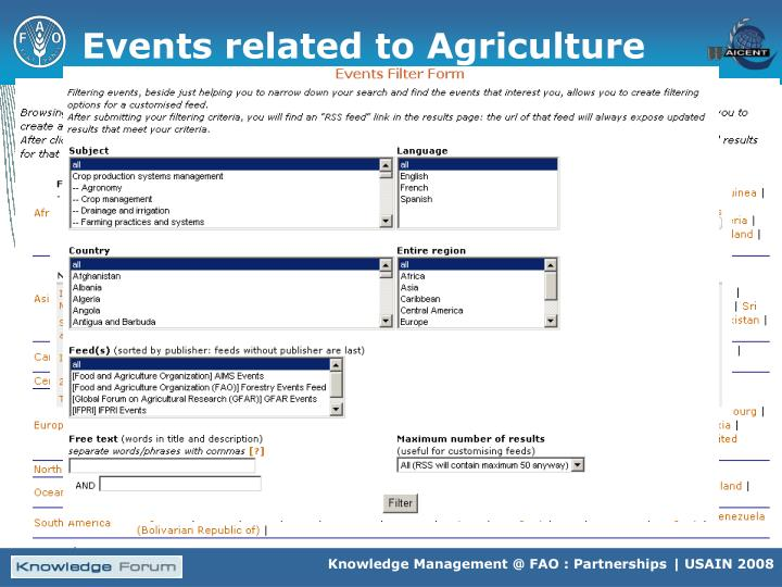 Events related to Agriculture