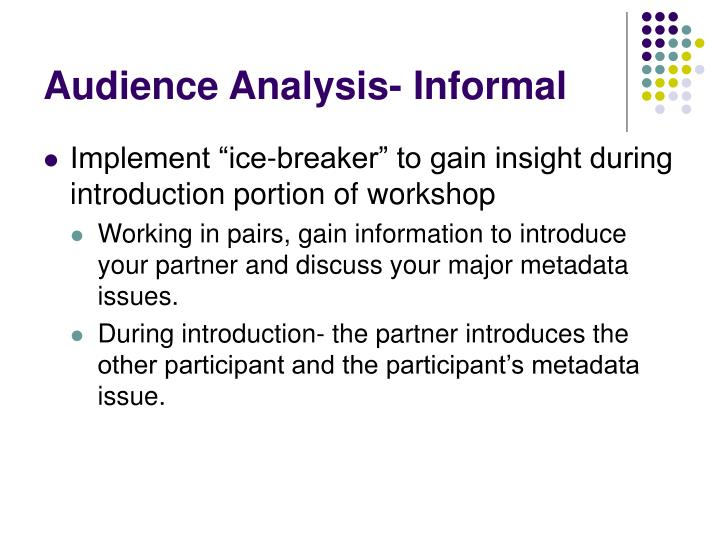 Audience Analysis- Informal