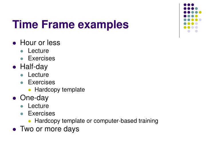 Time Frame examples