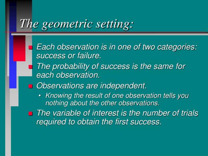 The geometric setting: