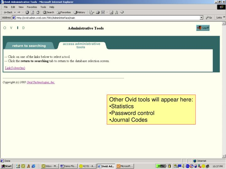 Other Ovid tools will appear here: