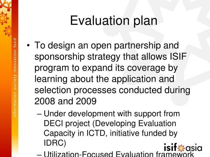 Evaluation plan