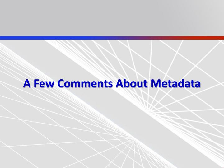 A Few Comments About Metadata