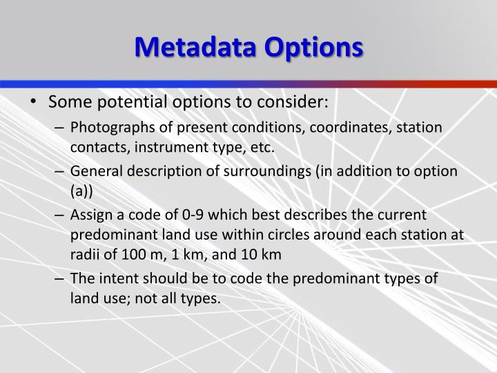 Metadata Options