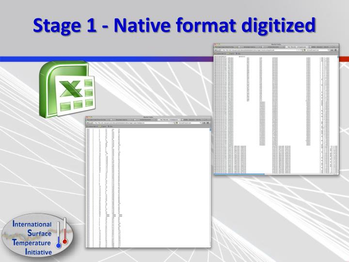 Stage 1 - Native format digitized