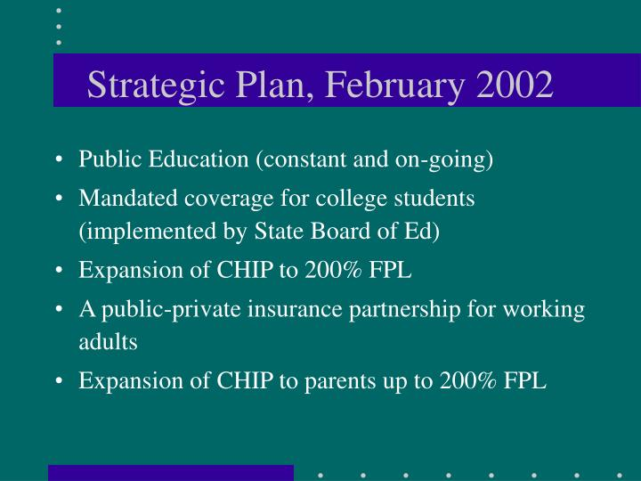 Strategic Plan, February 2002