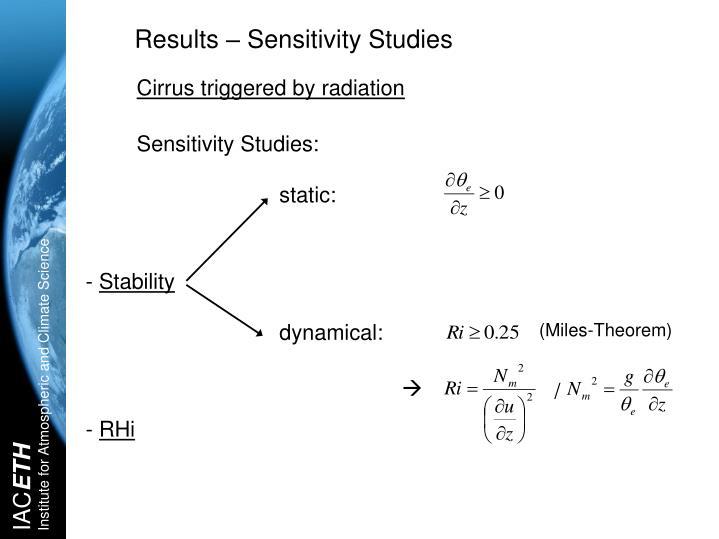 Results – Sensitivity Studies
