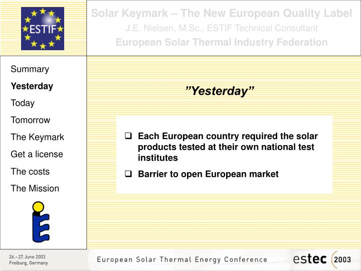 Solar Keymark – The New European Quality Label
