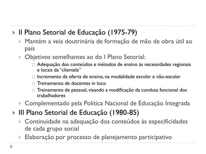 II Plano Setorial de Educação (1975-79)