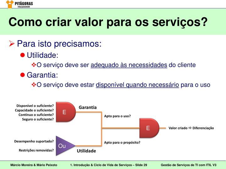 Como criar valor para os serviços?