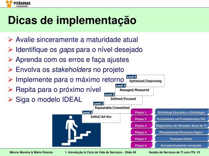 Dicas de implementação