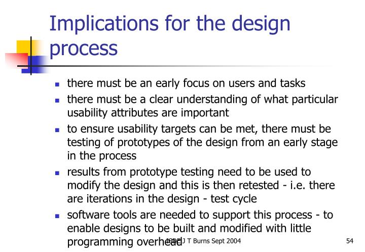 Implications for the design process