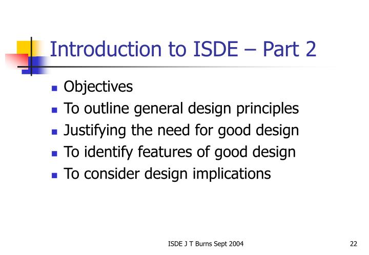 Introduction to ISDE – Part 2