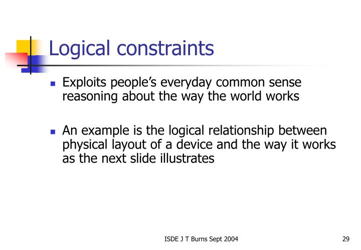 Logical constraints