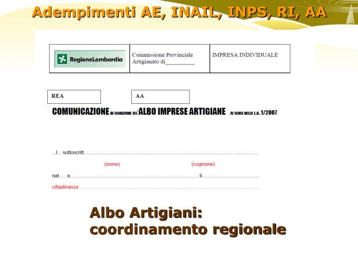 Albo Artigiani: coordinamento regionale