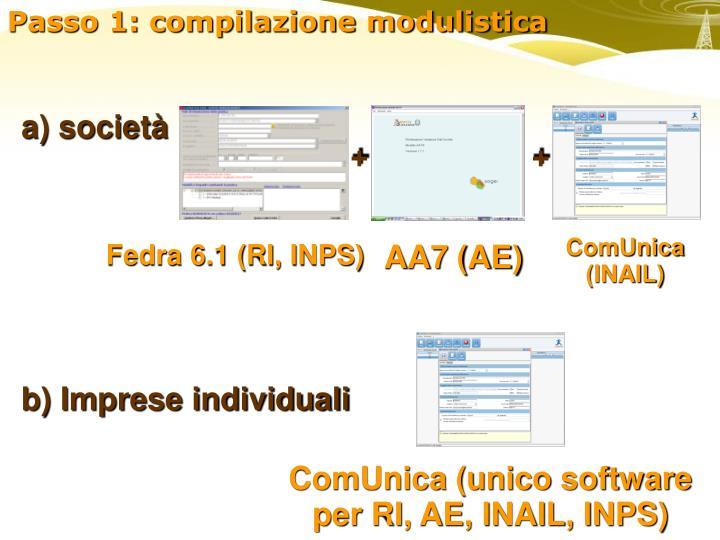 Passo 1: compilazione modulistica