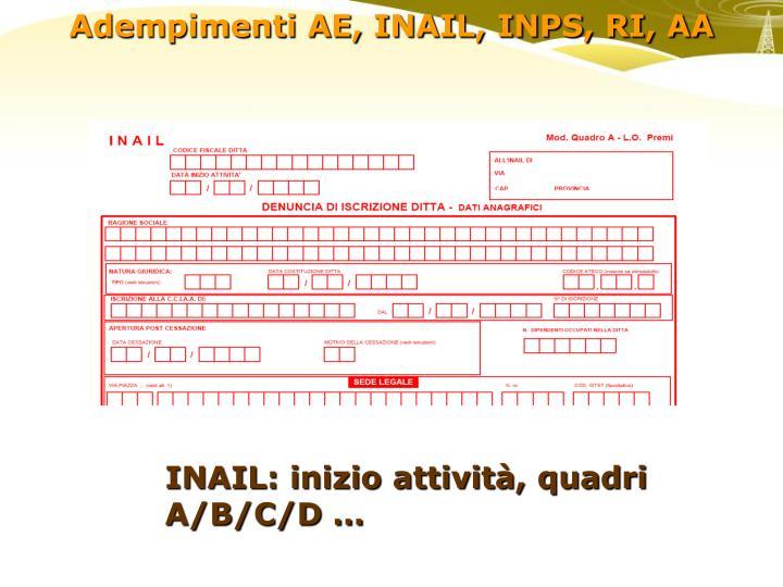 INAIL: inizio attività, quadri A/B/C/D …