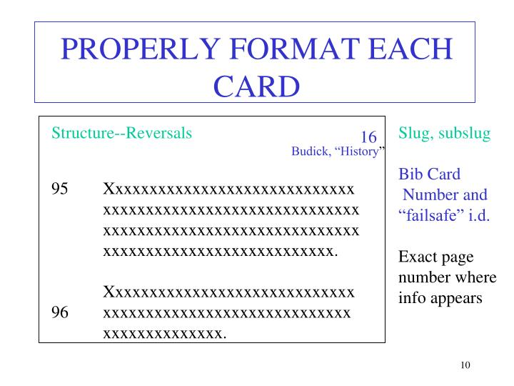Notecard format research paper